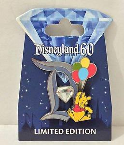Disneyland Diamond Celebration 60th Anniversary Winnie The Pooh D Pin LE 3000