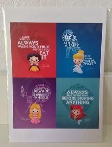 Disney WonderGround Life Lessons from Princesses Postcard Jerrod Maruyama RARE