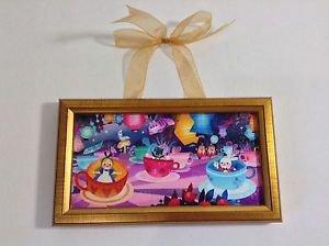 Disney WonderGround Gallery Tea Cups by Joey Chou Framed Canvas Print New