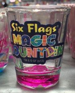 Six Flags Magic Mountain Clear / Pink Shot Glass New