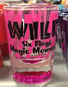 Six Flags Magic Mountain Pink Wild Clear Shot Glass New