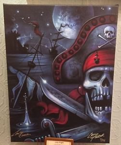 Disney Parks Jolly Roger Pirate Ship LE Giclee on Canvas by Craig Fraser New