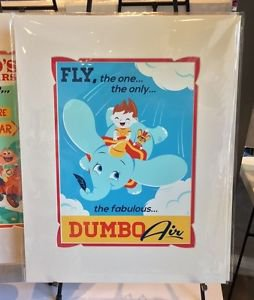 DISNEY WONDERGROUND GALLERY FLY DUMBO AIR DELUXE PRINT BY DAVE PERILLO NEW
