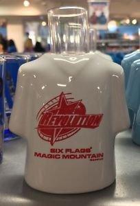 Six Flags Magic Mountain The New Revolution Ceramic Shirt Style Shot Glass New