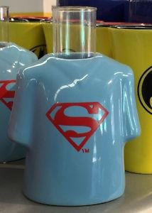 Six Flags Magic Mountain Ceramic Shirt Style Shot Glass Superman Shield  New