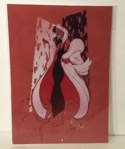 Disney WonderGround CRUELLA DE VILLE ON CRIMSON Postcard J. Scott Campbell RARE