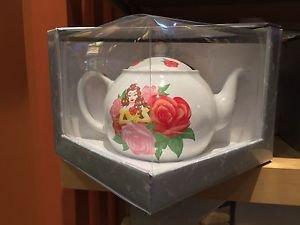 Disney Parks Beauty & The Beast Princess Belle w/ Flowers Ceramic Tea Pot New