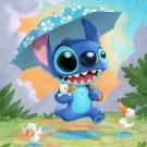 Disney WonderGround Gallery Rainy Day Stitch Postcard by Kristin Tercek New