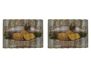 """Disney Parks Large Wall Sign Aloha Isle Refreshments Metal Sign 26""""x18"""" New"""