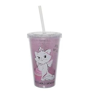 WALT DISNEY WORLD EPCOT BONJOUR MARIE CAT TRAVEL TUMBLER WITH STRAW NEW