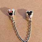 Disney Parks Pandora Mickey Minnie Mouse Safety Chain Silver Charm NEW WITH BOX