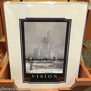 Disney Parks Walt Disney's Vision Cinderella Castle Deluxe Print 14x18 New