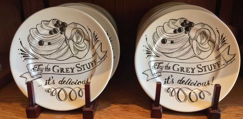 Disney Parks Beauty and The Beast Try The Grey Stuff Dessert Plate Set of 2 New