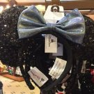 Disney Parks Minnie Mouse Ears Sequin Headband Blue Bow New