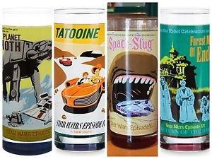 Disney Parks Star Wars Glass Cup Set Battle Hoth Space Slug Tatooine Forest Moon