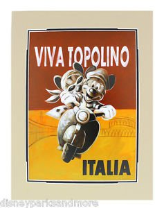 Disney Parks Viva Topolino Deluxe Matted Print by Brian Blackmore NEW