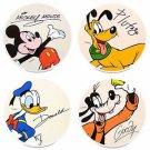 Disney Parks Mickey Goofy Donald & Pluto Fab 4 Coaster Set New