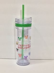 Disney Parks DCA 2016 Festival of Holidays Tumbler Cup W/ Straw 14oz. New