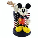 Disney Parks Medium Big Figurine Mickey Mouse Salutes American Flag New in Box