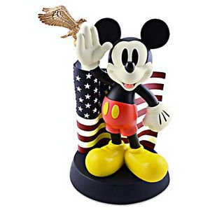 Disney Parks Medium Big Figurine Mickey Mouse Salutes American Flag New in Box