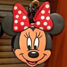 Disney Parks Minnie Mouse Face With Polka Dot Bow Luggage Tag New