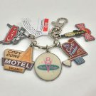 DISNEY PARKS CARS LAND ICONS METAL KEYCHAIN WITH 5 CHARMS NEW