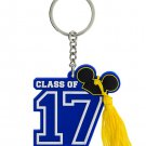 Disney Parks Mickey Ear Hat Class Of 2017 Graduation Keychain w/ Tassel New