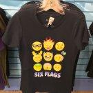 Six Flags Magic Mountain Adult Emoji Black T-Shirt SIZE XS,M,L XL,XXL New