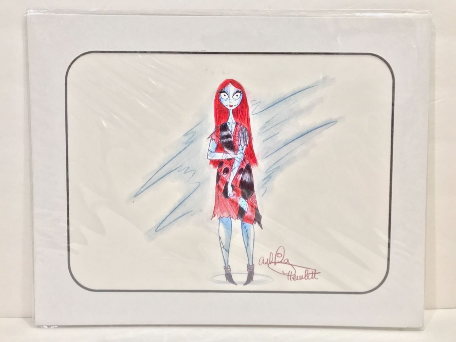 Disney Parks Nightmare Before Christmas Sally Artist Signed Sketch Matted Art