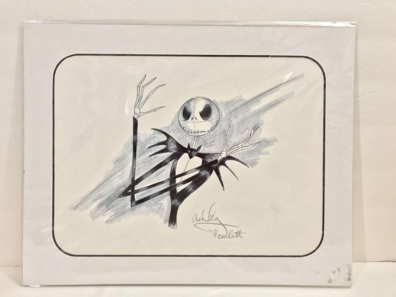 Disney Parks Nightmare Before Christmas Jack Artist Signed Sketch Matted Art