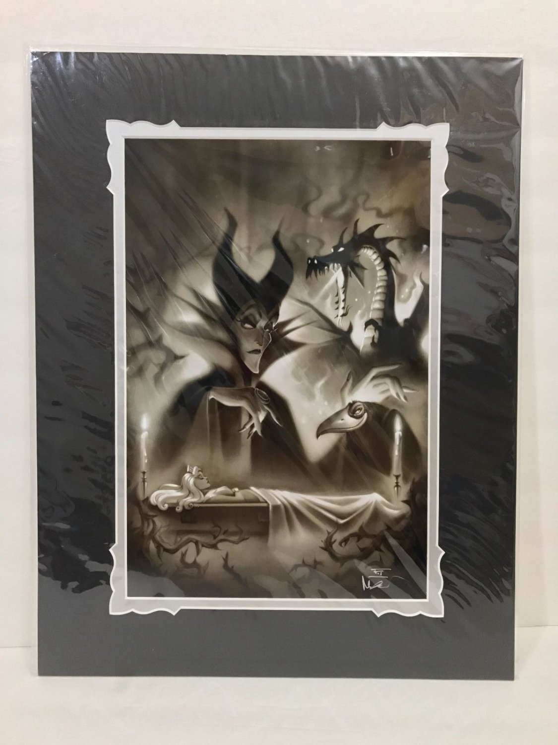Disney Parks Sleeping Beauty's Maleficent Deluxe Print Signed by Noah New