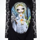 Disney WonderGround Haunted Mansion Bride Returns Black Top Shirt S M L XL New
