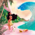 Disney WonderGround Gallery Ocean is Calling Moana Postcard by Eunjung June Kim