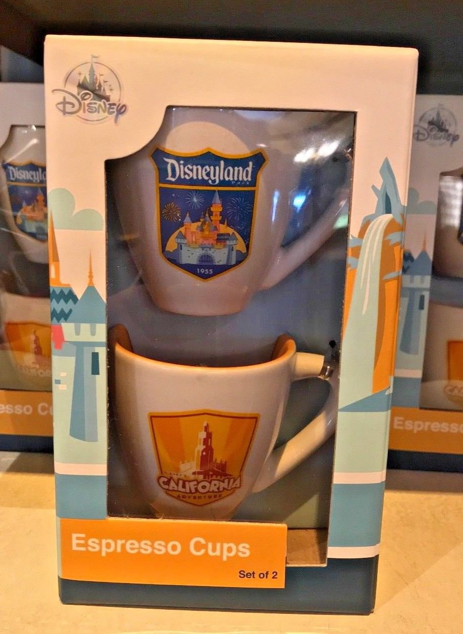 DISNEYLAND RESORT DISNEY CALIFORNIA ADVENTURE ESPRESSO CUPS SET OF 2 NEW IN BOX