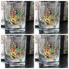 Universal Studio Harry Potter Hogwarts Crest Stain Short Glass Cup New Set of 4