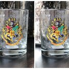 Universal Studio Harry Potter Hogwarts Crest Stain Short Glass Cup New Set of 2