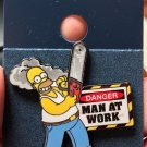 Universal Studios The Simpsons Homer Danger Man At Work Trading Pin New on Card