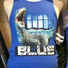 Universal Studios Exclusive Jurassic World Raptor Blue Men's Tank Top Medium New