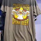 Universal Studios The Simpsons Homer Conserve Water Drink Beer Mens Shirt Large