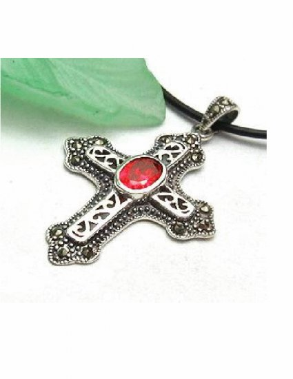 PX-9004   Handmade Silver, Marcasite, Ruby Pendant