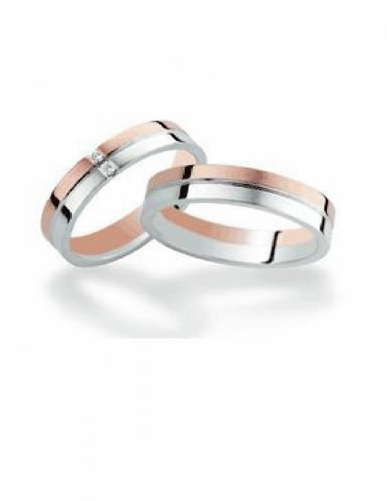 Free shipping--Rose Gold-Plated and Stainless Steel 2-Tone CZ Wedding Ring