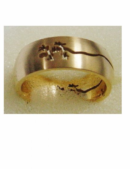 Free shipping--Gold-Plated Stainless Steel Laser Cut Ring