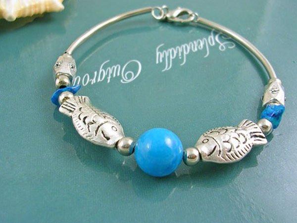 DSCN-7656    Turquoise Beads, Tibet Silver Bracelet