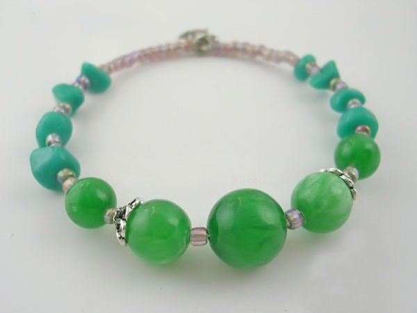 DSCN-8391     Agate Beads, Tibet Silver Bracelet