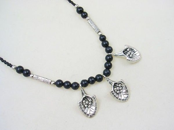 DSCN-5586    Black Agate Beads, Tibet Silver Necklace