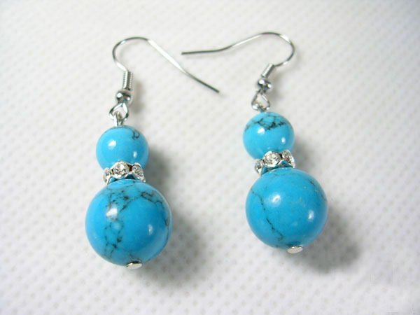DSCN-9299     Turquoise Beads, CZ, Tibet Silver Earrings