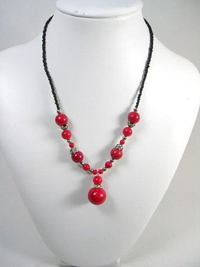 DSCN-0158  Coral Beads, CZ, Tibet Silver Necklace