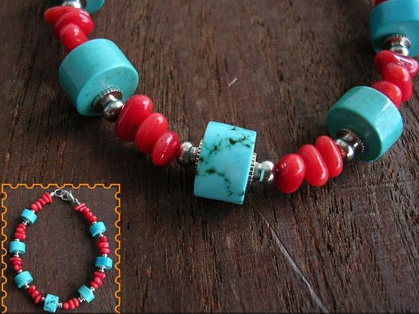 DSCN-1980     Turquoise, Coral, Tibet Silver Beads  Bracelet