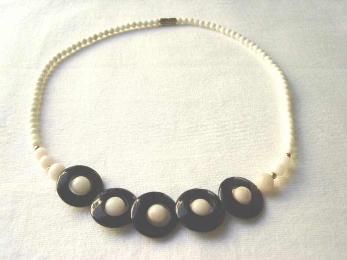 NSP-6006   Black Agate and Shell Necklace