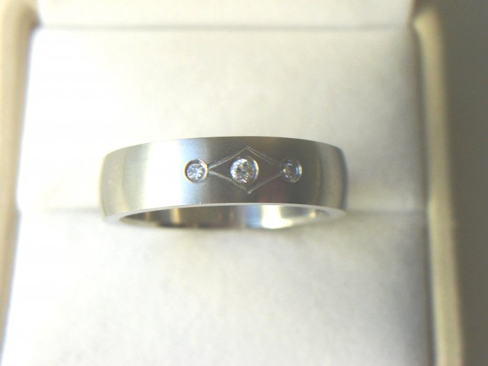 RHD-8065      Stainless Steel CZ Wedding Band Ring